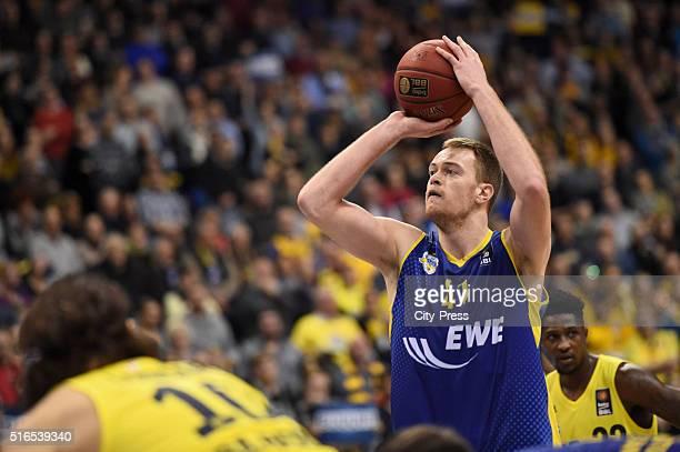 Brian Qvale of the EWE Baskets Oldenburg during Beko BBL game between Alba Berlin and EWE Baskets Oldenburg on march 19 2016 in Berlin Germany