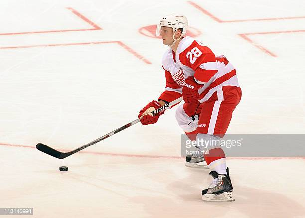 Brian Rafalski of the Detroit Red Wings skates the puck up ice against the Phoenix Coyotes on April 18 2011 in Game Three of the Western Conference...
