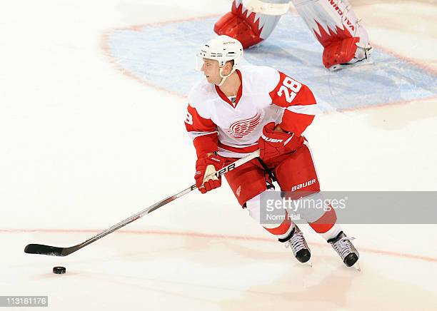 Brian Rafalski of the Detroit Red Wings skates with the puck against the Phoenix Coyotes on April 20 2011 in Game Four of the Western Conference...