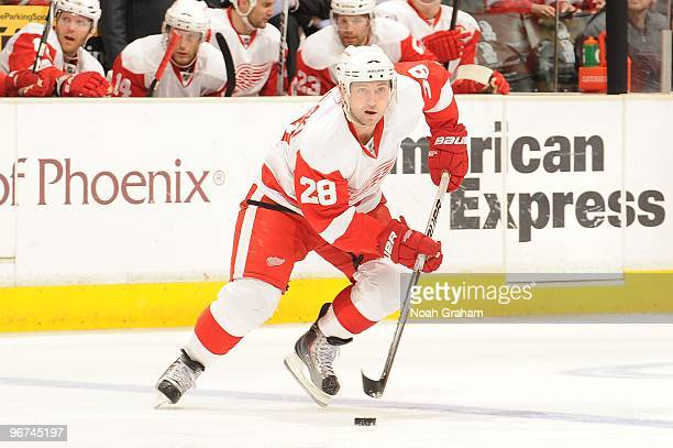 Brian Rafalski of the Detroit Red Wings skates with the puck against the Los Angeles Kings on February 6 2010 at Staples Center in Los Angeles...