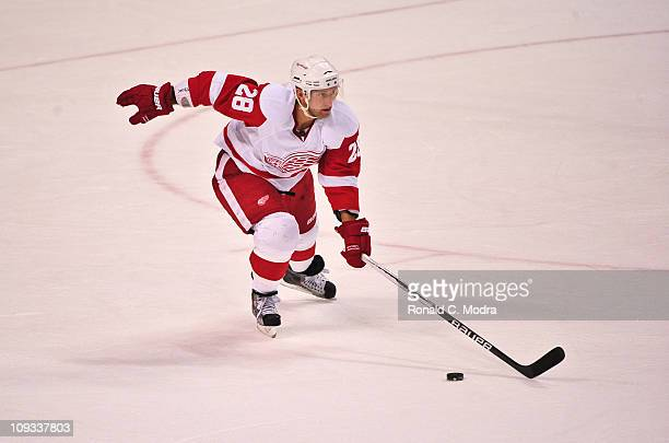 Brian Rafalski of the Detroit Red Wings skates with the puck during a NHL game against the Florida Panthers at the BankAtlantic Center on February 18...