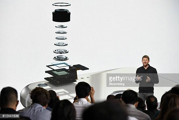 Brian Rakowski vice president of product management for Google Inc discusses the new camera inside the Google Pixel smartphone during a Google...