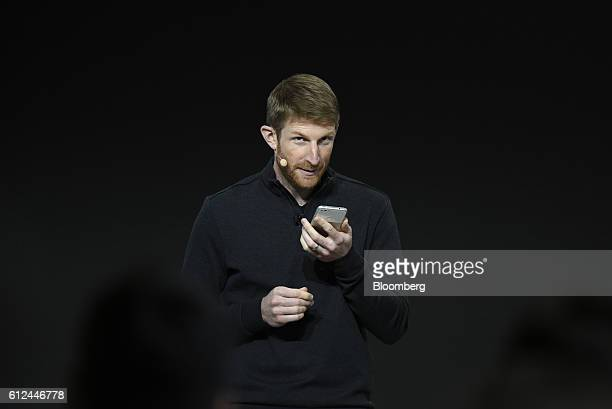 Brian Rakowski vice president of product management for Google Inc uses the new Google Pixel virtual assistant during a product launch event in San...