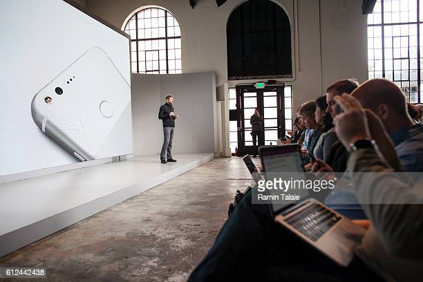 Brian Rakowski VP Product Management at Google Inc speaks during an event to introduce the Google Pixel phone and other Google products on October 4...