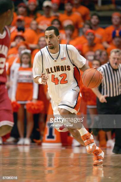 Brian Randle of the Illinois Fighting Illini drives down court during the game against the Indiana Hoosiers on February 19, 2006 at the Assembly Hall...