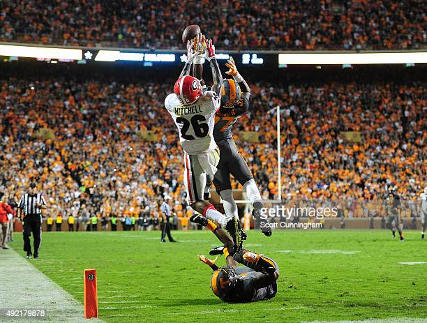 Brian Randolph of the Tennessee Volunteers breaks up a final hail-mary pass intended for Malcolm Mitchell of the Georgia Bulldogs on October 10, 2015...