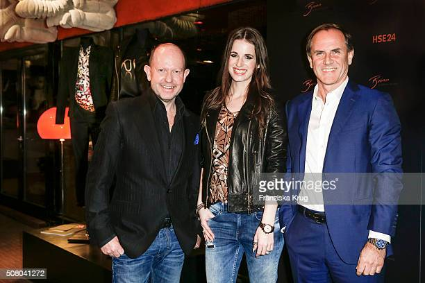Brian Rennie Beate Igel and Richard Reitzner during the launch dinner of his new collection 'Brian by Brian Rennie' for HSE24 on February 2 2016 in...