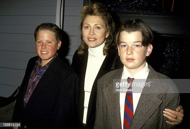 Brian Richard, Faye Dunaway and Son Liam O'Neill during Publicists Guild of America's 30th Annual Awards Luncheon at Sheraton Universal Hotel in...