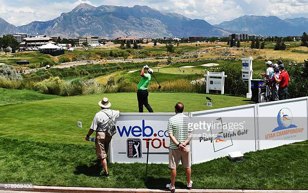 Brian Richey hits drive on the 18th hole during the second round of the Utah Championship Presented by Zions Bank at Thanksgiving Point on July 22...