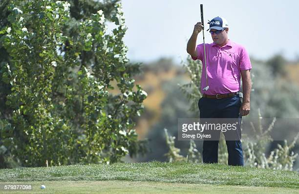 Brian Richey lines up his putt on the sixth hole during the third round of the Utah Championship Presented by Zions Bank at Thanksgiving Point on...