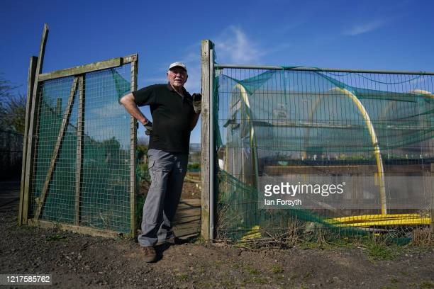 Brian Ridsdale stands at the entrance to his allotment as he follows government guidelines on social distancing and time restrictions on April 08,...