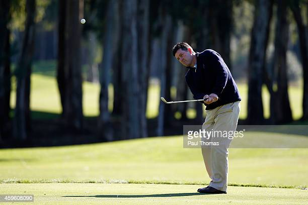 Brian Rimmer of Little Aston Golf Club plays a shot during day one of The Golfplan Insurance Pro Captain Challenge grand final at Antalya Golf Club...