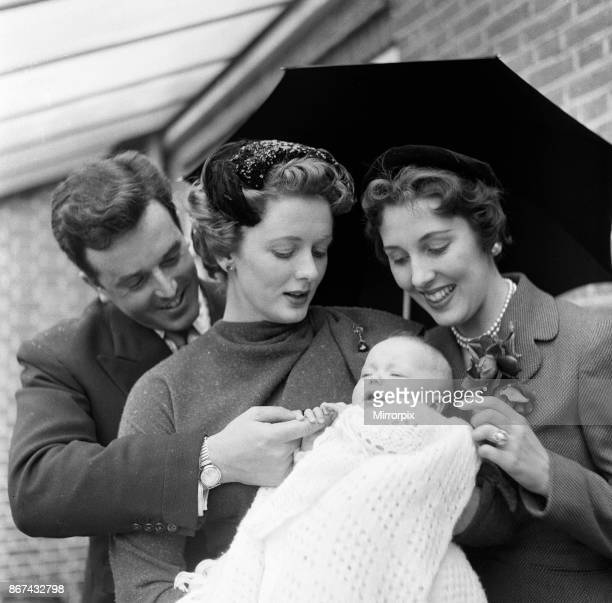Brian Rix and Elspet Gray at the christening of their daughter Louisa 2nd May 1955