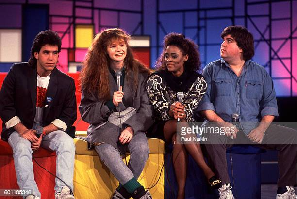 Brian Robbins Robin Givins Khrystyne Haje and Dan Schneider from the cast of 'Head of the Class' at an afterschool special taping of the Oprah...