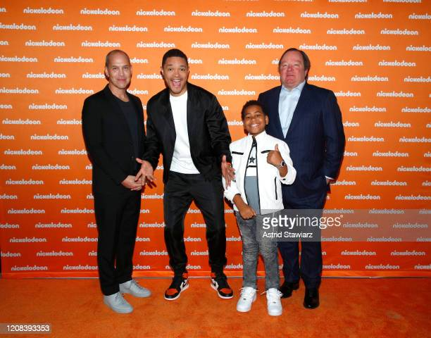 Brian Robbins Trevor Noah Young Dylan and Bob Bakish attend the Nickelodeon Exclusive Presentation at The Shed on February 24 2020 in New York City