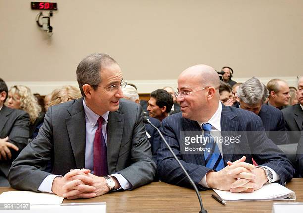 Brian Roberts chairman and chief executive officer of Comcast Corp left and Jeffrey 'Jeff' Zucker president and chief executive officer of NBC...