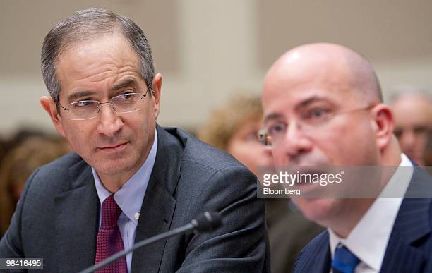 Brian Roberts chairman and chief executive officer of Comcast Corp left looks on as Jeffrey 'Jeff' Zucker president and chief executive officer of...