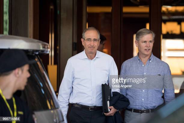 Brian Roberts chief executive officer of Comcast arrives at the Sun Valley Resort for the annual Allen Company Sun Valley Conference July 10 2018 in...