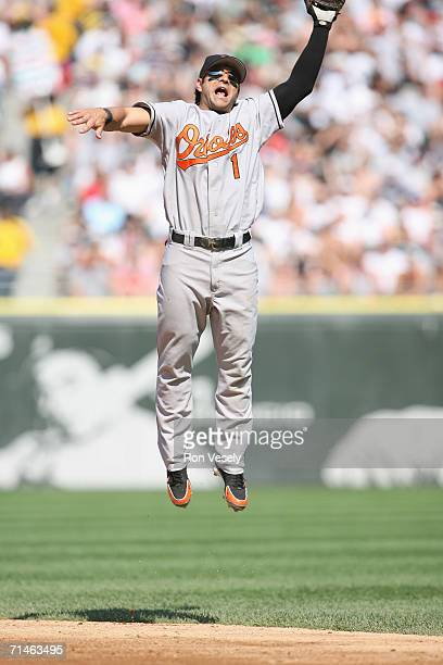 Brian Roberts of the Baltimore Orioles makes a leaping attempt at a line drive during the game against the Chicago White Sox at U.S. Cellular Field...