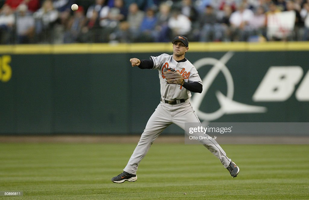 Brian Roberts #1 of the Baltimore Orioles throws the ball during the game against the Seattle Mariners on May 19, 2004 at Safeco Field in Seattle, Washington. The Orioles won 5-2.