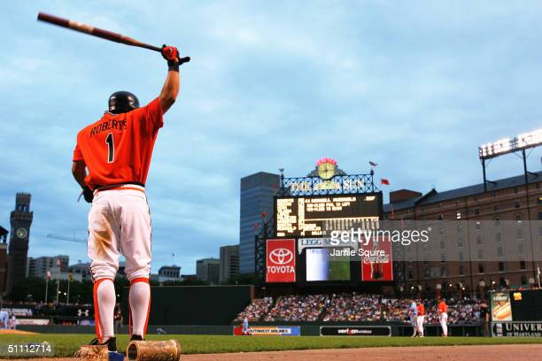 Brian Roberts of the Baltimore Orioles warms up in the ondeck circle prior to batting against the Minnesota Twins at Camden Yards on July 24 2004 in...