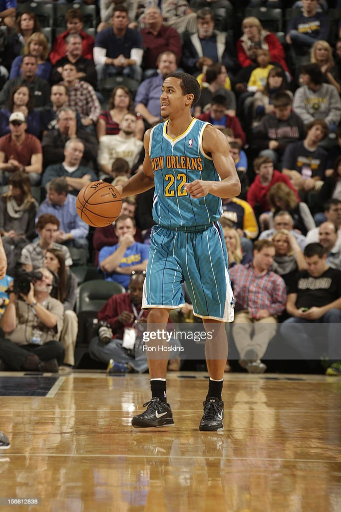 Brian Roberts #22 of the New Orleans Hornets dribbles up the court vs the Indiana Pacers on November 21, 2012 at Bankers Life Fieldhouse in Indianapolis, Indiana.