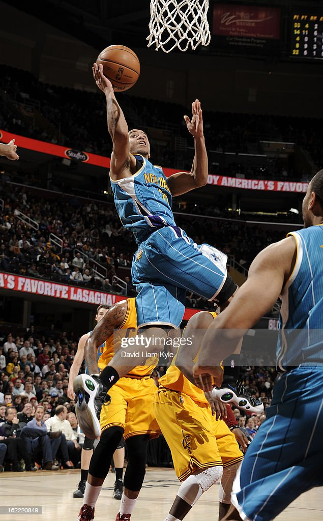 Brian Roberts #22 of the New Orleans Hornets goes up for the shot against the Cleveland Cavaliers at The Quicken Loans Arena on February 20, 2013 in Cleveland, Ohio.