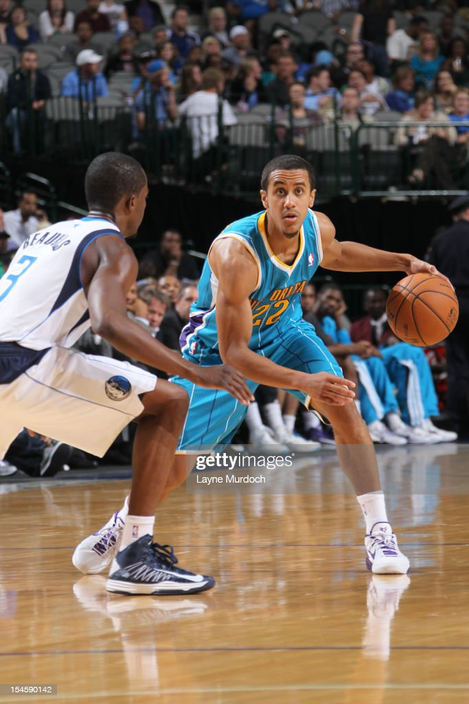 Brian Roberts #22 of the New Orleans Hornets protects the ball during the game between the New Orleans Hornets and the Dallas Mavericks on October 22, 2012 at the American Airlines Center in Dallas, Texas.