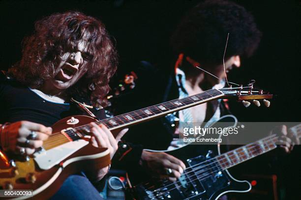 Brian Robertson and Phil Lynott of Thin Lizzy perform on stage Leeds United Kingdom December 1976