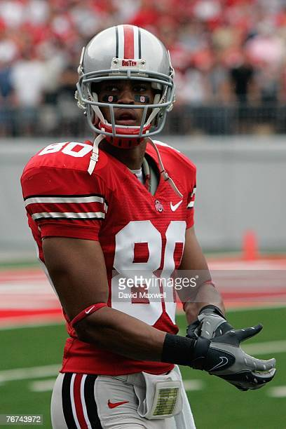 Brian Robiskie of the Ohio State Buckeyes looks on during the game against the Akron Zips at Ohio Stadium on September 8 2007 in Columbus Ohio Ohio...