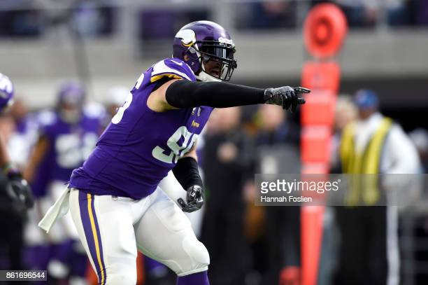 Brian Robison of the Minnesota Vikings celebrates a sack during the second quarter of the game against the Green Bay Packers on October 15, 2017 at...