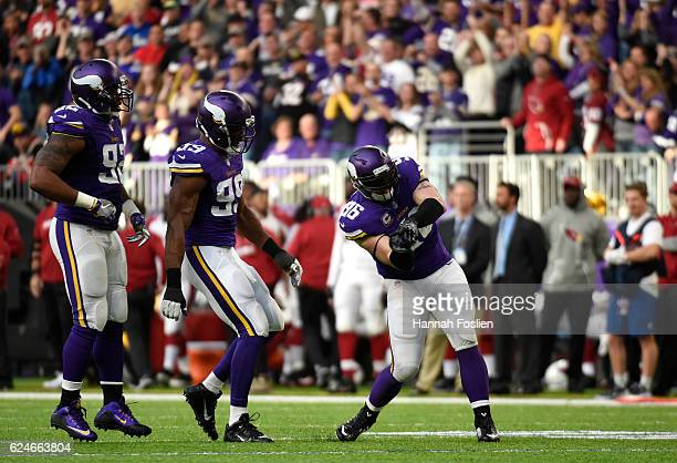 Brian Robison of the Minnesota Vikings celebrates a sack in the second half of the game agains the Arizona Cardinals on November 20, 2016 at US Bank...