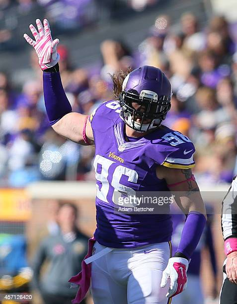 Brian Robison of the Minnesota Vikings celebrates a sack of quarterback Matthew Stafford of the Detroit Lions during the fourth quarter on October...