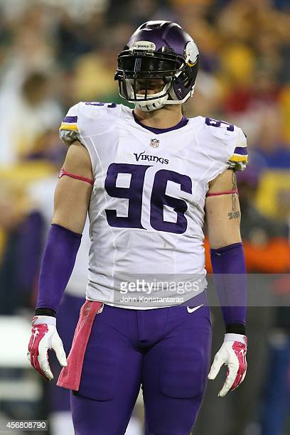 Brian Robison of the Minnesota Vikings during the third quarter of the NFL game against the Green Bay Packers on October 02, 2014 at Lambeau Field in...