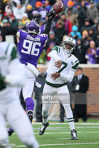 Brian Robison of the Minnesota Vikings gets his hand on the ball after Geno Smith of the New York Jets throws in the fourth quarter on December 7,...