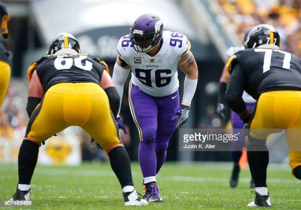 Brian Robison of the Minnesota Vikings in action against the Pittsburgh Steelers on September 17, 2017 at Heinz Field in Pittsburgh, Pennsylvania.