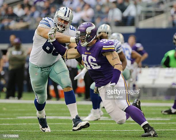 Brian Robison of the Minnesota Vikings pass rushes during an NFL game against the Dallas Cowboys at AT&T Stadium, November 3, 2013 in Dallas Texas.