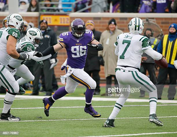 Brian Robison of the Minnesota Vikings pass rushes during an NFL game against the New York Jets at TCF Stadium, on December 7, 2014 in Minneapolis,...