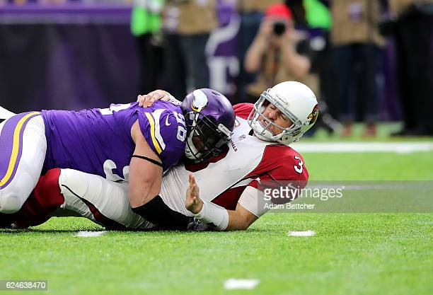 Brian Robison of the Minnesota Vikings pressures quarterback Carson Palmer of the Arizona Cardinals during the first quarter of the game on November...