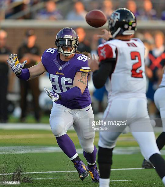 Brian Robison of the Minnesota Vikings rushes Matt Ryan of the Atlanta Falcons during an NFL game at TCF Bank Stadium, on September 28, 2014 in...