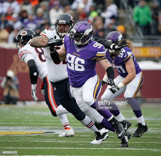 Brian Robison of the Minnesota Vikings rushes the passer during an NFL game against the Chicago Bears at TCF Stadium, on December 28, 2014 in...
