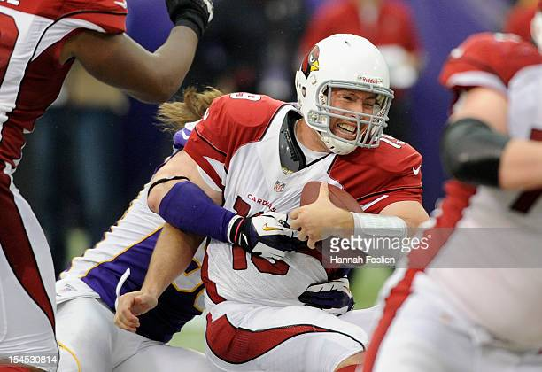 Brian Robison of the Minnesota Vikings sacks John Skelton of the Arizona Cardinals during the fourth quarter of the game on October 21, 2012 at Mall...