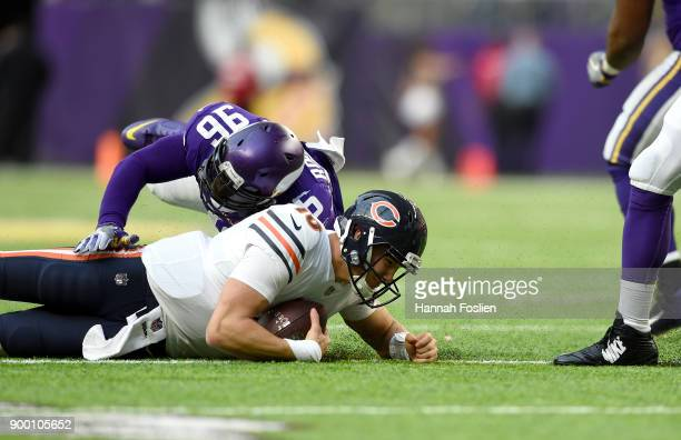 Brian Robison of the Minnesota Vikings sacks quarterback Mitchell Trubisky of the Chicago Bears in the third quarter of the game on December 31 2017...