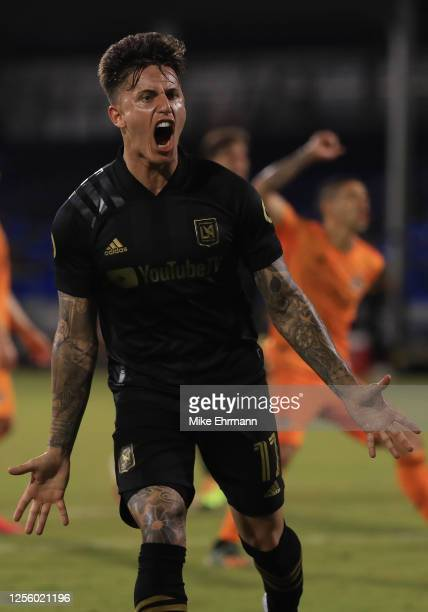 Brian Rodriguez of Los Angeles FC celebrates the third goal of his team during a match between Los Angeles FC and Houston Dynamo as part of MLS is...