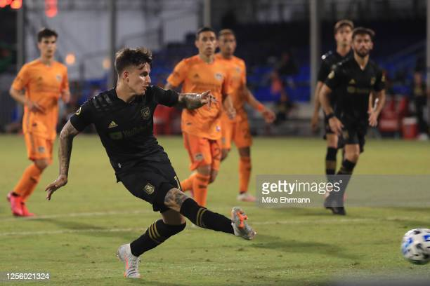 Brian Rodriguez of Los Angeles FC scores the third goal of his team during a match between Los Angeles FC and Houston Dynamo as part of MLS is Back...
