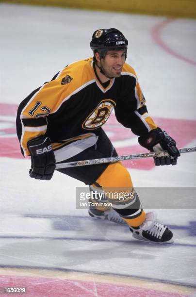Brian Rolston of the Boston Bruins shifts direction during the game against the Calgary Flames at the Pengrowth Saddledome on October 17 2002 in...