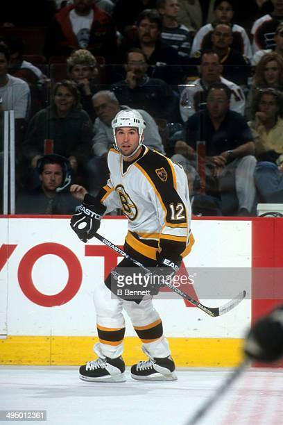 Brian Rolston of the Boston Bruins skates on the ice during an NHL game against the Philadelphia Flyers on October 7, 2000 at the Wells Fargo Center...