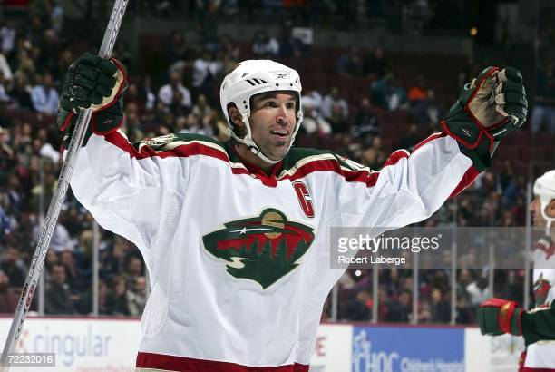 Brian Rolston of the Minnesota Wild celebrates his team's first goal in the second period of a game against the Anaheim Ducks at the Honda Center...