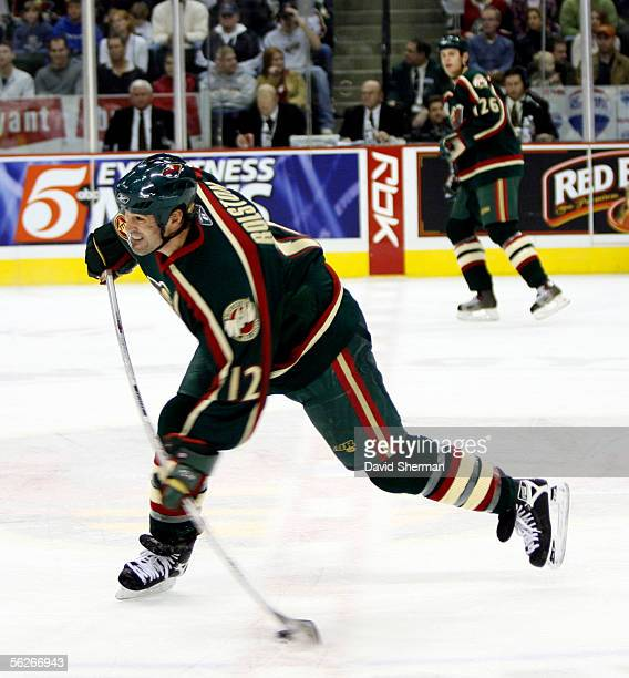 Brian Rolston of the Minnesota Wild shoots the puck in a game against the Edmonton Oilers against on November 23, 2005 at the Xcel Energy Center in...