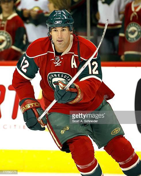 Brian Rolston of the Minnesota Wild skates in warmups before a game with the Chicago Blackhawks on October 4 2007 at the Xcel Energy Center in St...